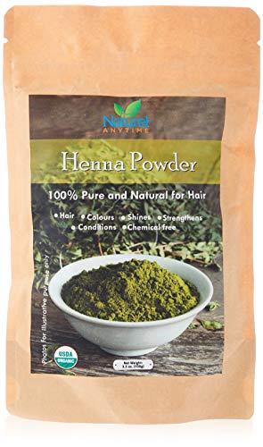 Henna-Pulver, USDA-zertifiziert, Bio-getrocknet, 100 g für Haar und Körper, 100 % reine und hochwertige Qualität, Frischhaltevorrat in doppelt-versiegelter Verpackung