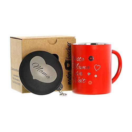 Edelstahlbecher Thermobecher Isolierbecher Kaffeebecher doppelwandig rot 0,25l mit Deckel und Gravur Beste Mama der Welt (0,25l)