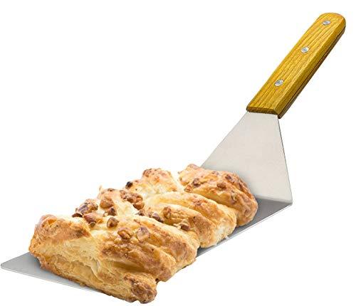 Espátula para parrilla con mango madera, Espátulas de Plancha de Acero Inoxidable, ideal para parrilla hierro fundido barbacoa plana,Espátula de hamburguesa BBQ 30x7,5cm