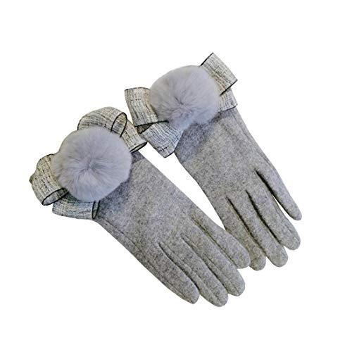 FELICIOO Frauen-warme Handschuhe beugen Hairball-Dekoration reizendes im Freien, das Herbst/Winter reitet (Farbe : Grau)