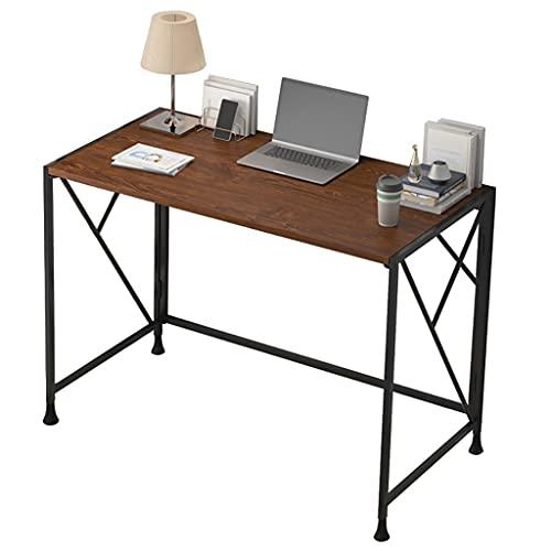 WYH Escritorio plegable para casa, oficina, escritorio simple, sin montaje, moderno y sencillo, mesa de estudio, plegable, para espacios pequeños, escritorio de computadora (color marrón