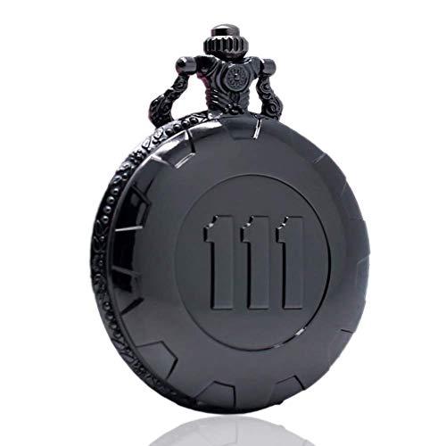 YGB Herren-Taschenuhr, Classic Black Full Fallout 4 Vault 111 QuartzPocket-Uhr, Geschenke für Herren, Taschenuhren für Herren mit Kette