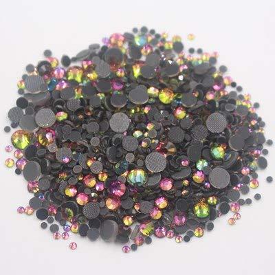 Astonish 2500pcs Mix Größe Strass Shiny Crystals Strass Fest Kleber Zurück Glaskristall-Fabric Crafts Hotfix Strasssteine ??für Kleidung: Regenbogen, 1000PCS
