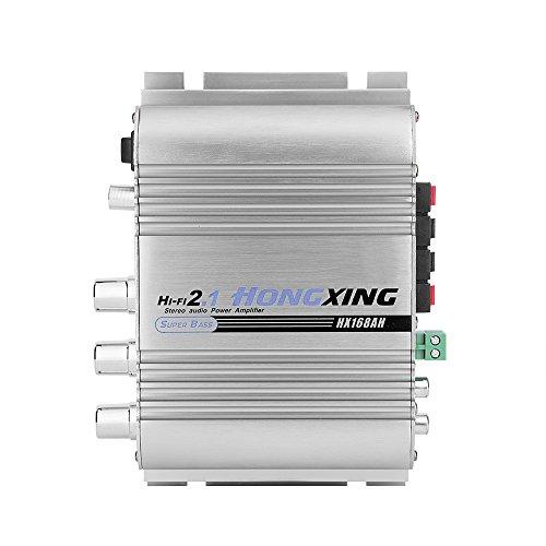 Miniversterker Hi-Fi 2.1-kanaals stereo audioversterker versterker 2x40W- aluminiumlegering stevige behuizing hoogvermogensversterker DC 12V - zware bas voor auto, motor, boot, enz