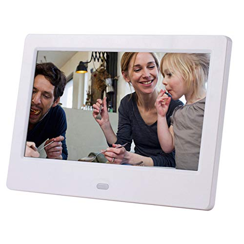Jiobapiongxin 7 Pulgadas LCD con Pantalla Ancha HD Led Álbum de Fotos electrónico Digital Photo Frame Wall Advertising Machine Gift (Blanco)(JIO-S)