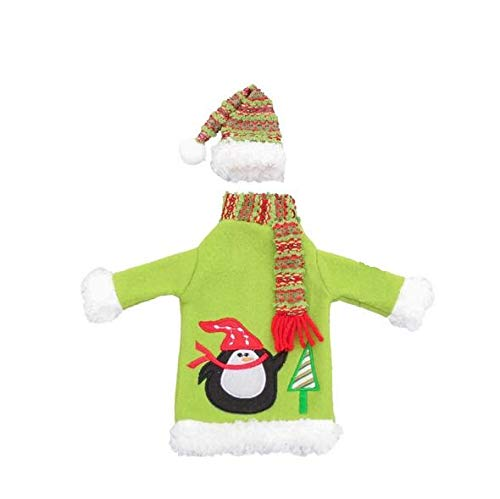 Vcenty Christmas Red Wine Bottle Sweaters with Scarves Hats, Santa Claus With White Beard Gnome Wine Bottle Cover Champagne Bottle Bag New Year Festival Party Home Table Decoration