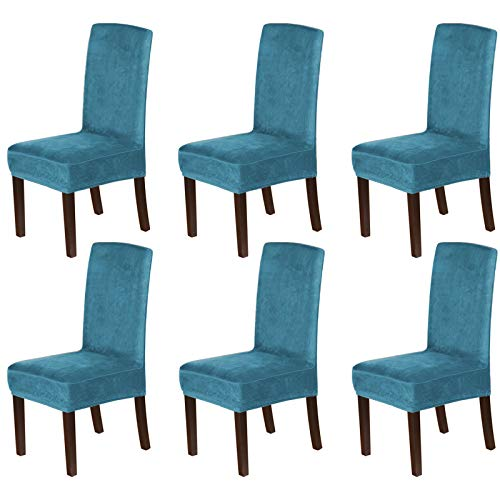 H.VERSAILTEX Velvet Dining Chair Covers Stretch Chair Covers for Dining Room Set of 6 Parson Chair Slipcovers Chair Protectors Covers Dining, Soft Thick Solid Velvet Fabric Washable, Peacock Blue
