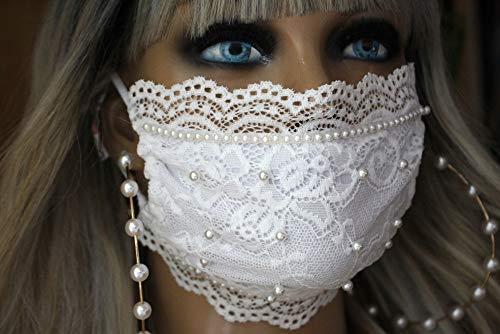 Mundschutz Maske Schutzmaske Atemschutzmaske weiß Braut Hochzeit Spitze Perlen