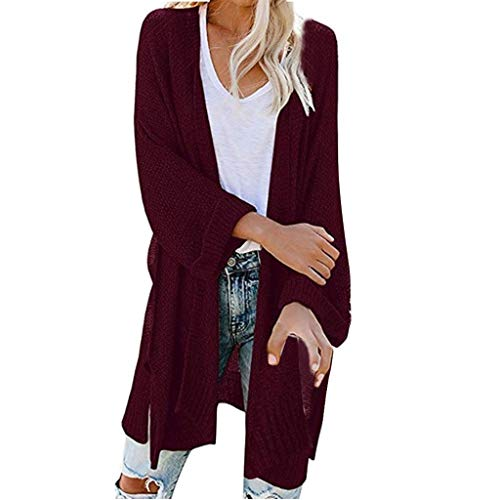 vermers Womens Knit Sweater Casual Loose Solid Color Open Front Long Sleeve Cardigans Tops(L, Wine)