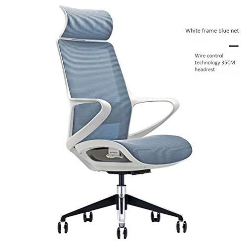 YCYHMYF ergonomische bureaustoel, 24 uur tot 24 uur, computerstoel met hoge rugleuning met hoofdsteun en lendensteun Wire Control Technology Blue