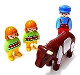 playmobil ® 123/1 2 3 - Vater mit Zwillingen und Kuh auf dem Bauernhof
