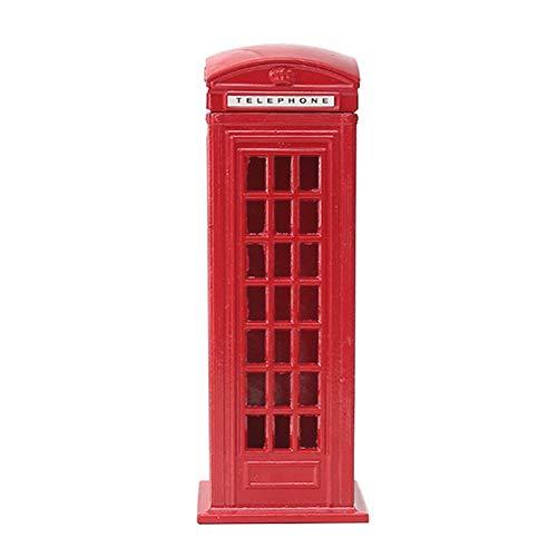 Eco Memos Hucha para niños Retro Hierro Rojo Cabina de Teléfono Británica Banco de Dinero Buzón Banco de Monedas para Niñas y Niños, Regalo Creativo (Cuadrado)