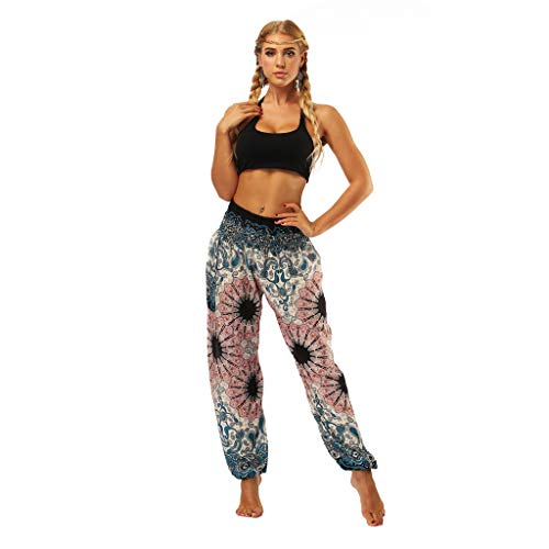 RISTHY Mono Pantalones de Yoga Profesionales Tallas Grandes Fitness Pantalones Deportivos Mujer Sueltos Cintura Alta Pantalones Largos de Deporte Pantalones Largos Bohemia para Gimnasio