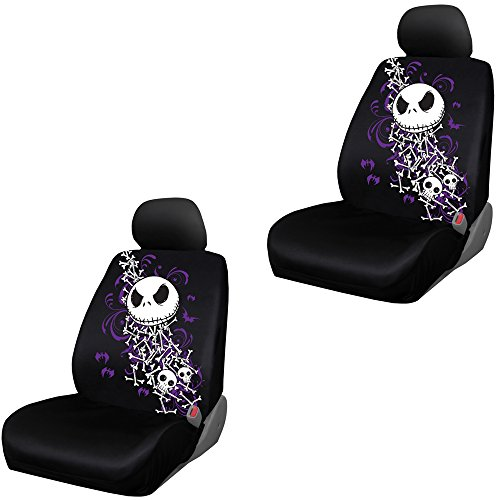 Nightmare Before Christmas Jack Skellington Bones Disney Movie Cartoon Character Auto Car Truck SUV Vehicle Low Back Front Bucket Seat Covers - Pair