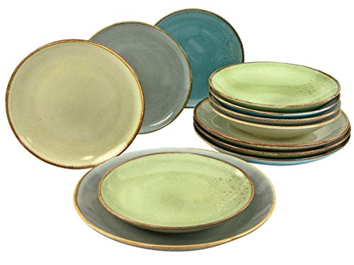 Creatable 20963, Serie Nature Collection, Geschirrset, Teller Set 12 teilig, Steinzeug
