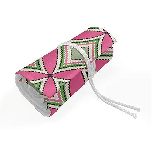 ABAKUHAUS geometrico Trousse à Crayon Enroulable, Folk Ovale Stile Mosaico, Organisateur de Crayon Durable & Portatif, 48 Trous, Rosa Verde Salvia