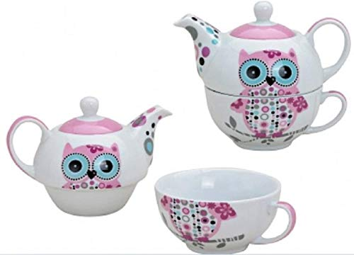 Tea for One Set mit kleiner, rosa Eule (Kanne & Tasse)