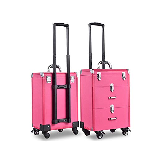 JHKGY Luxury Leather Hairdressing Make Up Beauty Trolley Case -3 in 1 Lockable Makeup Trolley, Rolling Beauty Nail Case Organizer Storage Box with 2 Drawersurple,Rolling Trolley,Pink