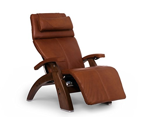 Perfect Chair Human Touch PC-610 Live Power Omni-Motion Walnut Zero-Gravity Recliner Premium Leather Fluid-Cell Cushion Memory Foam Jade Heat - Cognac Premium Leather