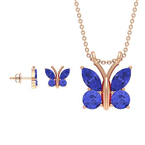 Rosec Jewels 10 quilates oro rosa marquesa redonda Blue Tanzanite