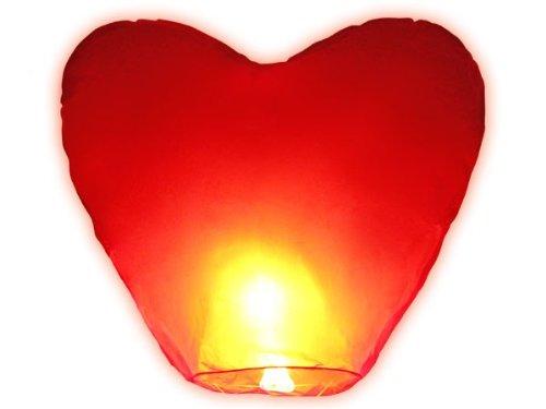 Lot de 2 lanterne volante céleste thaïlandaise coeur rouge amour couple