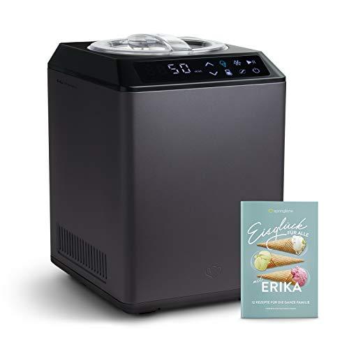 Heladera yogurtera 2 en 1 ERIKA con compresor de refrigeración y función de calefacción, 2,5 l Máquina de helados y yogur en acero inoxidable, función de mantenimiento de frío