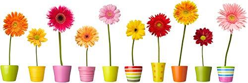 Stickers4 Blumentopf-Fensteraufkleber - 10einzelne farbenfrohe Topfblumen-Fenster-Sticker mit statischer Haftung als Deko für Fenster und Glastüren - Klein