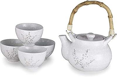 Happy Sales HSTS-WHTCHR, Japanese Tea set Tea ceremony Teapot Teacup, White Cherry Blossom