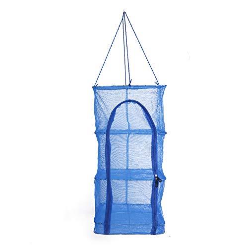 Borlai Trockengestell, faltbar, 4 Ebenen, zum Aufhängen, mit Reißverschluss, Netz, Blau