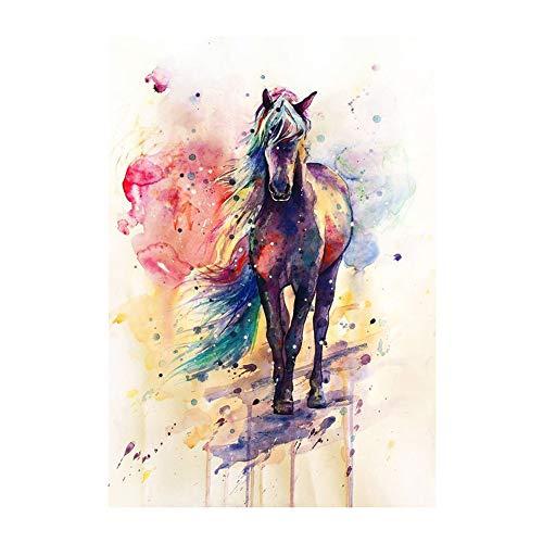 SWIDUUK Peinture sur toile en bois de mer Aquarelle Cheval...