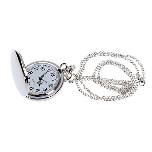 Gesh Reloj de bolsillo analógico para hombre y mujer, diseño vintage, color plateado