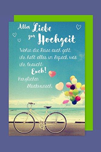 Trauung Hochzeit Grußkarte Karte Fahrrad Ballons 16x11cm