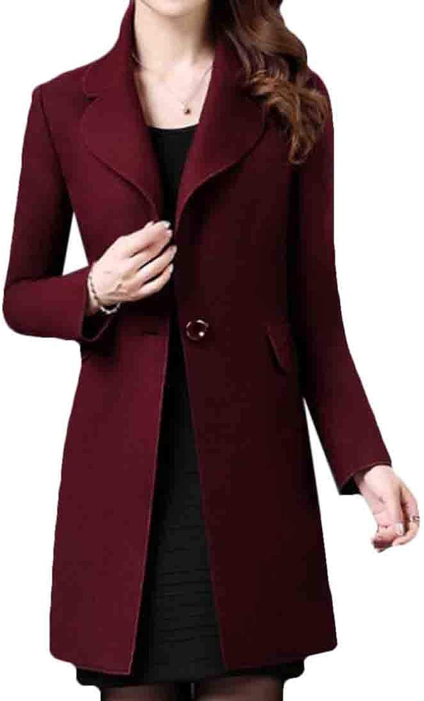 BYWX Women Lapel Midi Slimming Elegant One Button Pea Coat