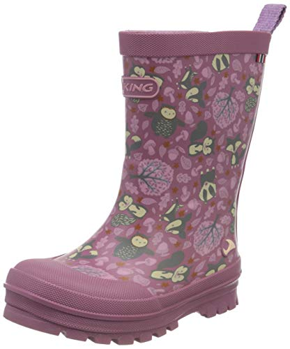 Viking Unisex-Kinder Jolly Woodland Gummistiefel, Pink (Dark Pink/Multi 3950), 28 EU