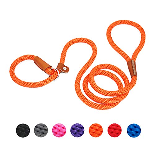 lynxking Dog Leash Rope Slip Leads Strong Heavy Duty No Pull Training Lead Leashes for Medium Large Dogs (5', Orange)
