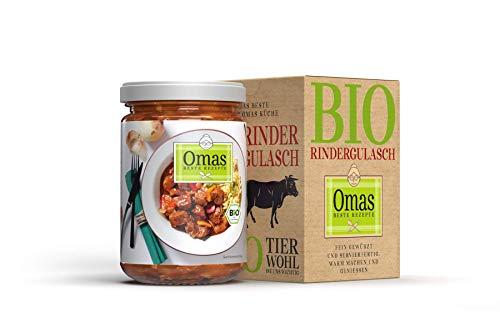 Omas BESTE REZEPTE - 5 Gläser Bio Rindergulasch - Rindsgulasch mit Paprika, Tomaten und Zwiebeln - aus kontrolliert biologischem Anbau - 5x 360g