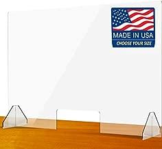SignHero Sneeze Guard | Professional, Sturdy Acrylic Plexiglass Shield | USA-Made, Fast Shipping, 30 Second Setup | Plexiglass Barrier for Counter, Reception, School, Office (Multiple Sizes)