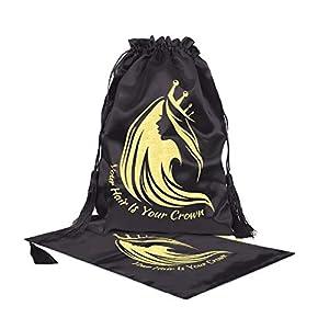 Black Silk Satin Hair Extensions/Wigs/Goods/Makeup Packaging Drawstring Bags, 30x40cm Women Extension Packaging Bag Satin Silk Hair Wigs Gift Bags (Black 2pcs)