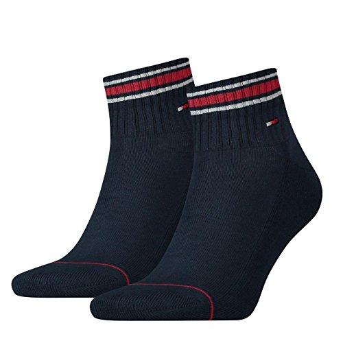Tommy Hilfiger, calzini da uomo Sport Quarters con suola in spugna, 4 pz Blu scuro (322). 39-42