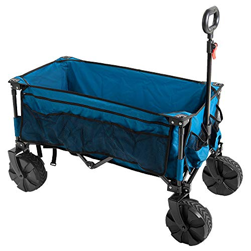 Timber Ridge Folding Wagon Collapsible Utility Big Wheels Shopping Cart for Beach Outdoor Camping...