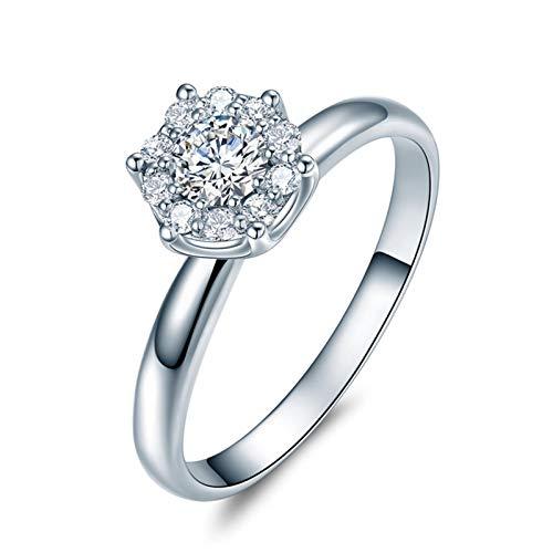 Ubestlove Ehering Weißgold Paar Solitär Damenring Mit Edelstein 0.3Ct Diamant Ringe Größe 57