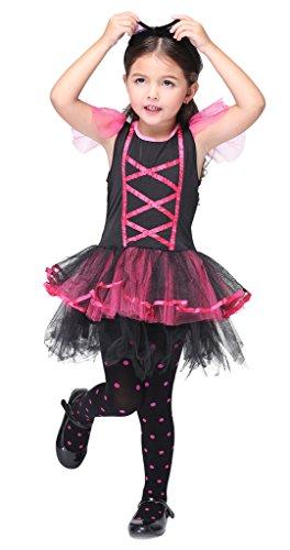 Bigood Costumes Déguisement Cospaly Uniforme Chat DiablePour Enfant Fille pour Halloween L