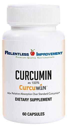 Relentless Improvement CurcuWin Curcumin Relative Absorption 46x Over Standard Curcumin No Black Pepper