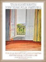 ポスター デビット ホックニー Window Grand Hotel Vittel 1970 額装品 ウッドベーシックフレーム(オフホワイト)