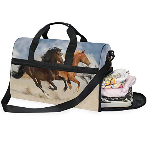 QMIN - Borsone da viaggio con cavalli africani da corsa, con cerniera, leggero, per donne, uomini, ragazze e ragazzi