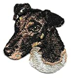 VirVenture 2 1/4' x2 1/2' Smooth Tan White Fox Terrier Portrait Dog Breed Embroidery Patch Great for Hats, Backpacks, and Jackets.