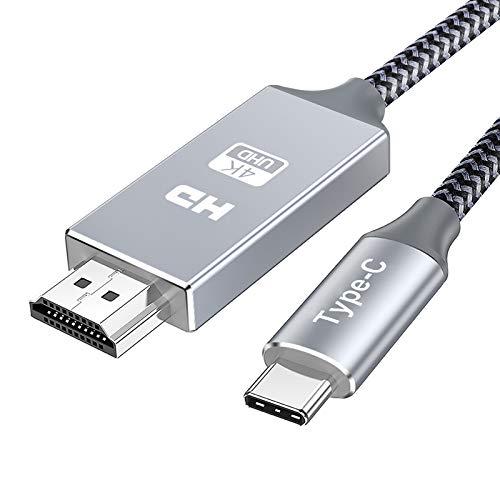 Cable USB C a HDMI 1.8m,Snowkids 4K Cable USB tipo ca HDMI, [Compatible con Thunderbolt 3] Soporte 4K UHD, Compatible con MecBook Pro/Air Sumsung S10/S9/S8/ Note 10/9/8, Plug&Play treccia di nylon