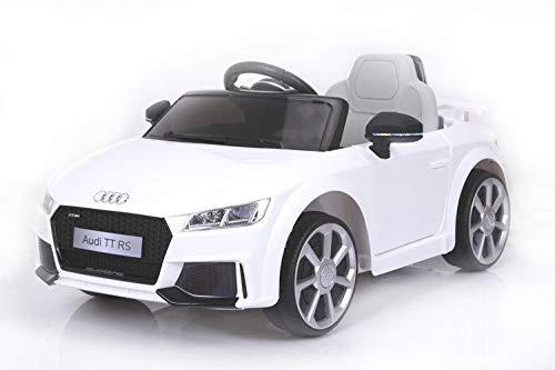 Audi TT RS Elektrisches Auto für Kinder, Weiss, Original lizenziert, batteriebetrieben, Öffnungstüren, Ledersitz, 2X Motor, 12 V Batterie, 2.4 Ghz Fernbedienung, Soft Eva Räder, Glatter Start