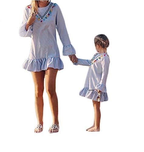 Wide.ling Mutter und Tochter Kleider Set, Baby Kleidung Partnerlook Mutter Tochter Familien Kleidung Mama und Kinder Mädchen Kleid Sommerkleid Tops Damen Shirtkleider Tochter 90