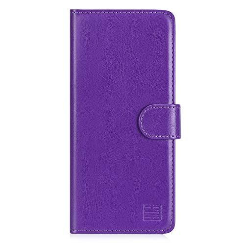 32nd PU Leder Mappen Hülle Flip Hülle Cover für Samsung Galaxy A21S (2020), Ledertasche hüllen mit Magnetverschluss & Kartensteckplatz - Violett